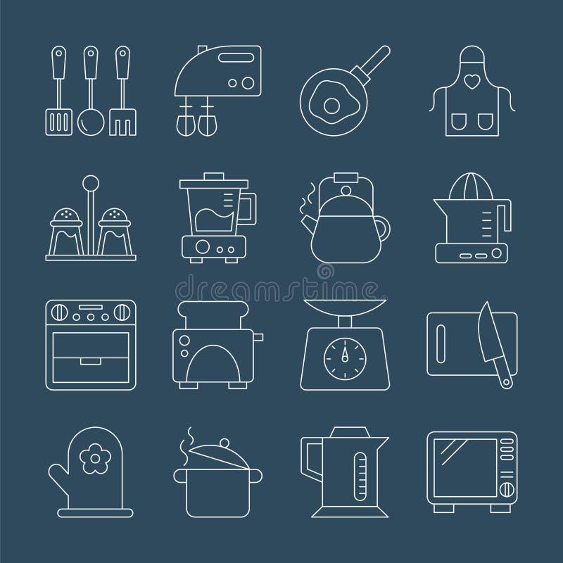 Linea insieme della cucina dell'icona illustrazione di stock