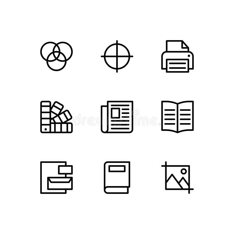 Linea insieme delle icone di progettazione editoriale Insieme di simboli premio del profilo di qualità illustrazione vettoriale