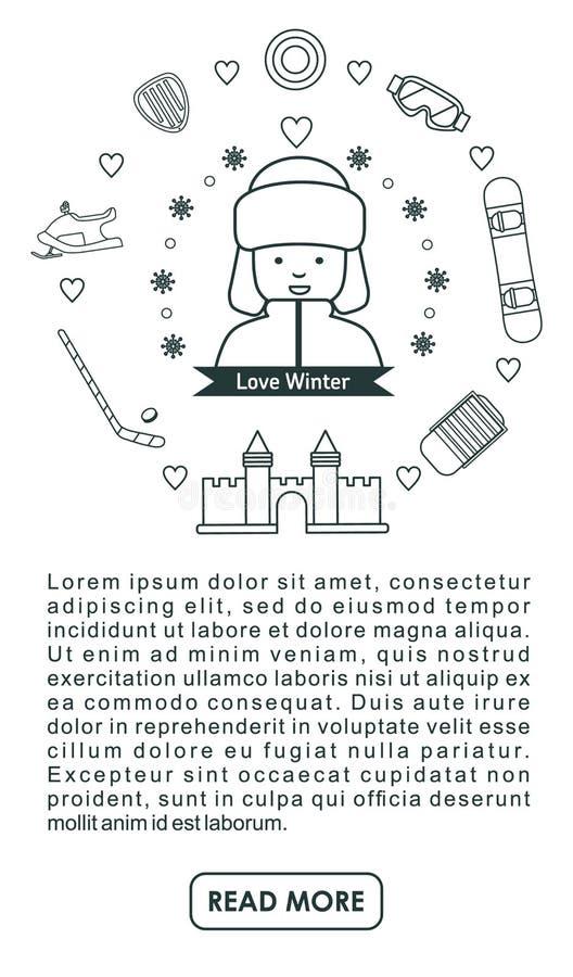 Linea insieme di attività dei bambini di inverno dell'icona Insegna di sport illustrazione di stock
