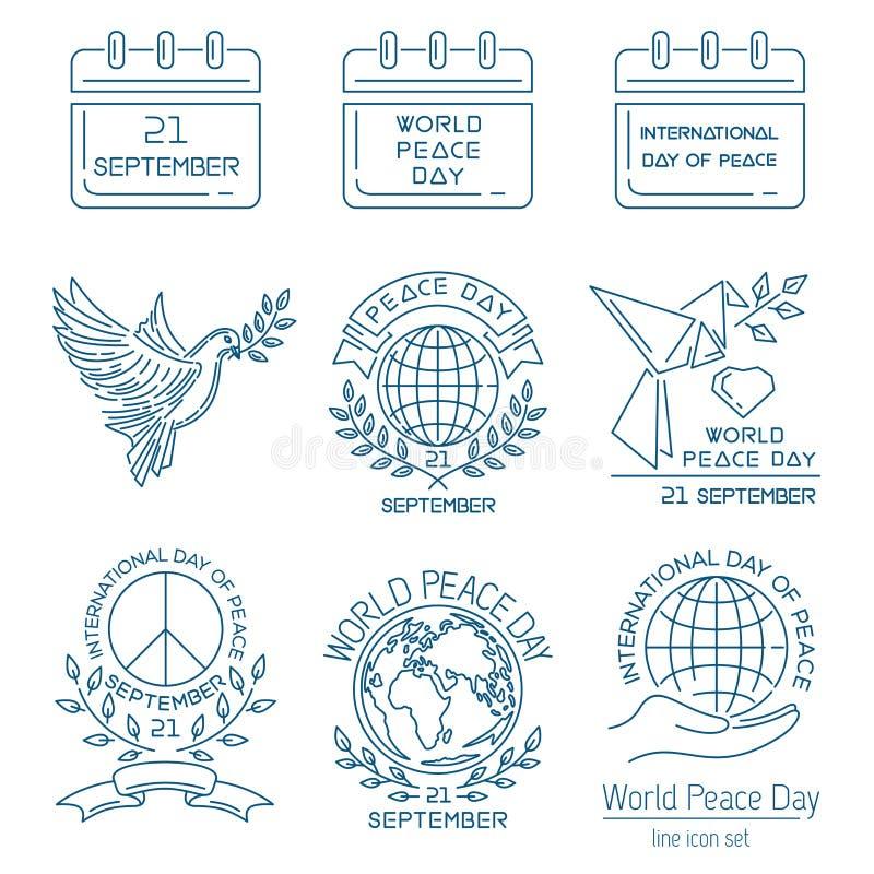 Linea insieme di giorno di pace di mondo dell'icona royalty illustrazione gratis