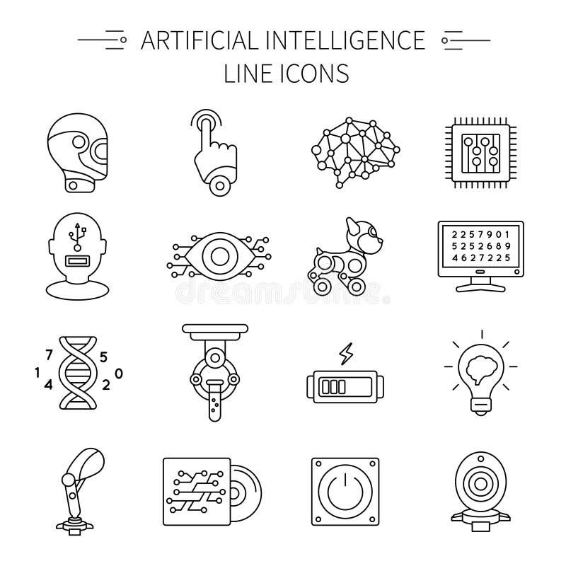 Linea insieme di intelligenza artificiale dell'icona
