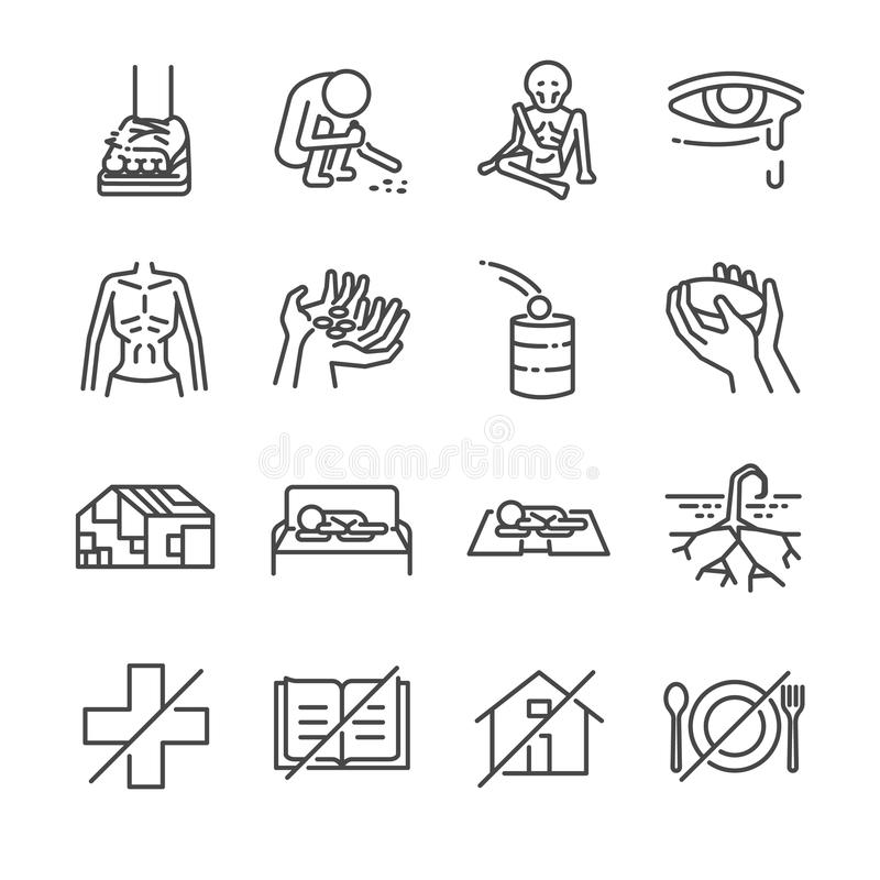 Linea insieme di miseria dell'icona illustrazione vettoriale