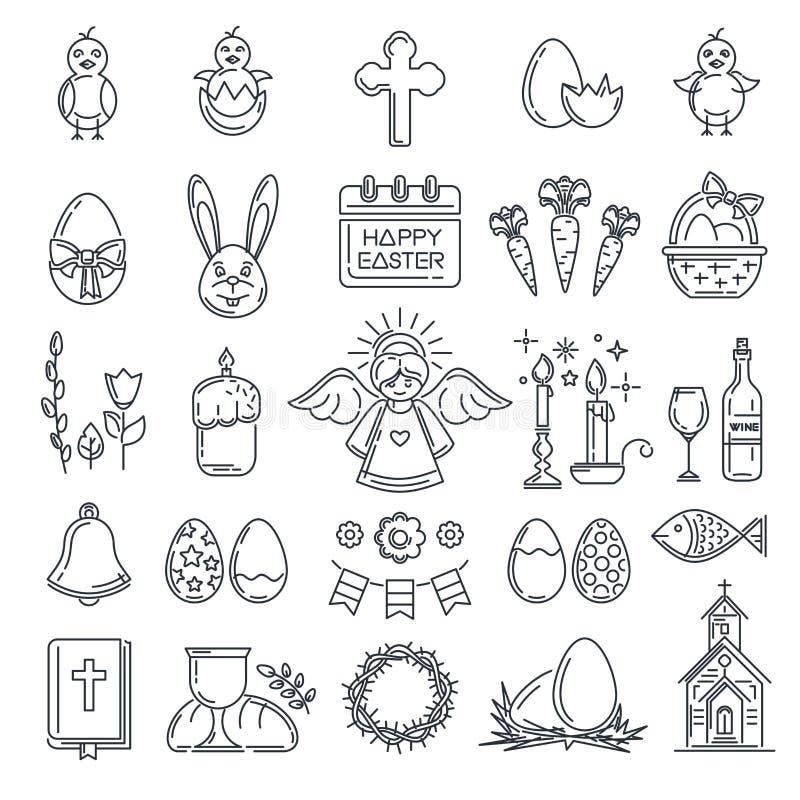 Linea insieme di Pasqua dell'icona royalty illustrazione gratis