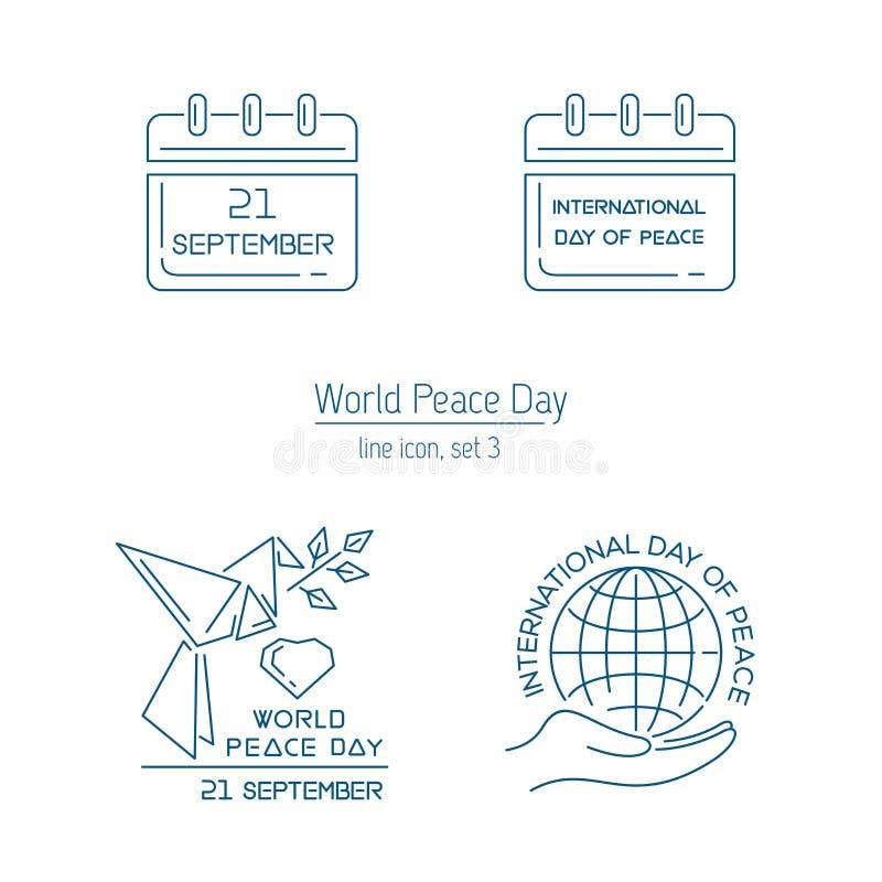 Linea insieme di vettore di giorno di pace di mondo dell'icona royalty illustrazione gratis