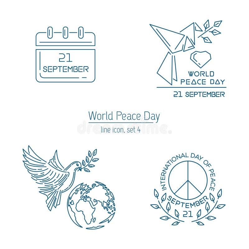 Linea insieme di vettore di giorno di pace di mondo dell'icona illustrazione di stock
