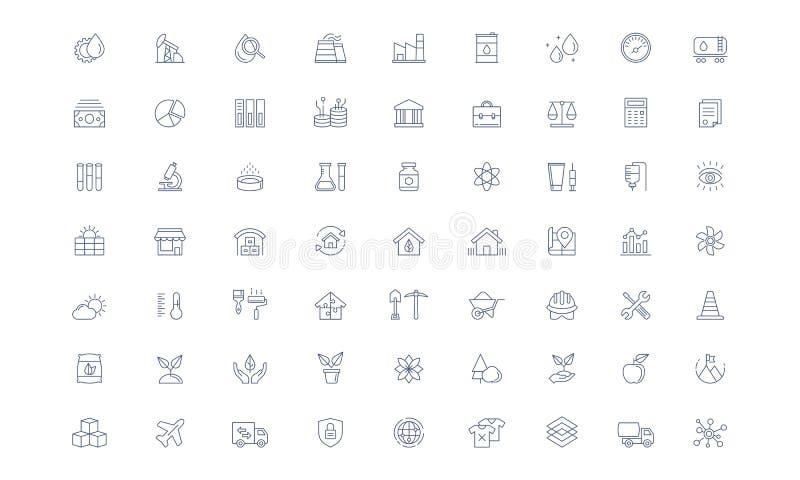 Linea insieme di vettore di industria dell'icona royalty illustrazione gratis