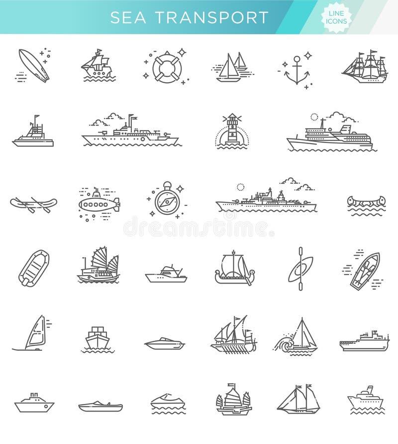 Linea insieme di vettore di navi e di barche royalty illustrazione gratis