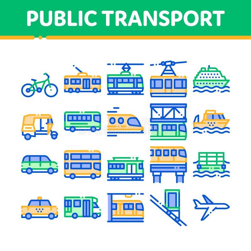 Linea insieme di vettore di trasporto pubblico della raccolta delle icone royalty illustrazione gratis