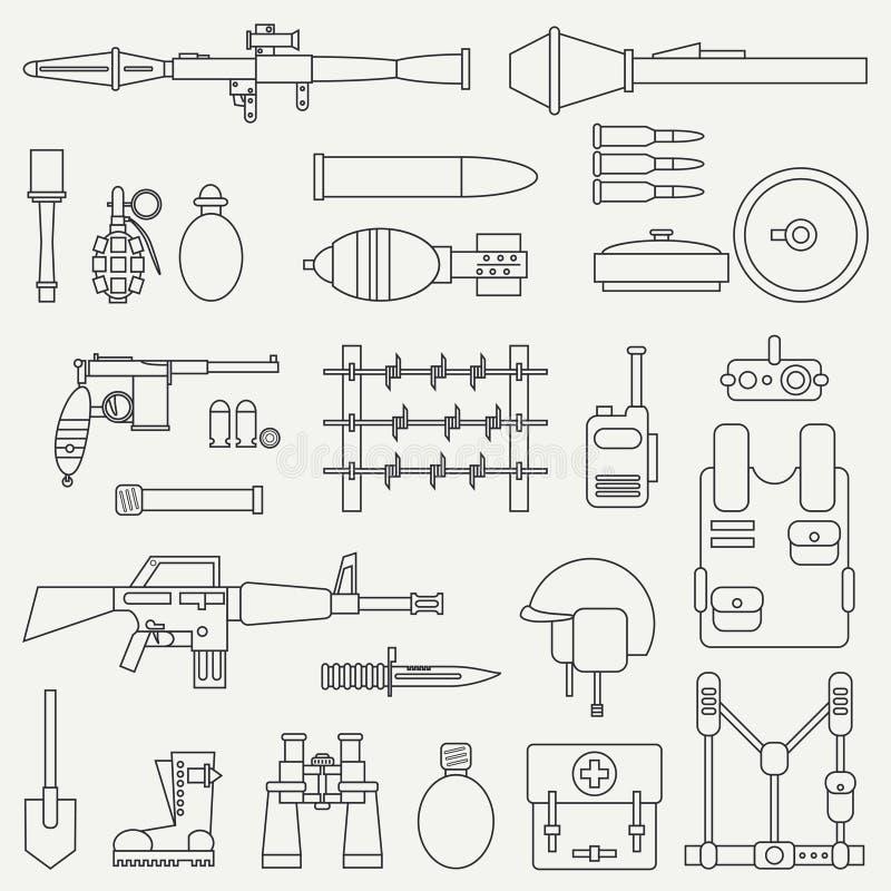 Linea insieme militare dell'icona di vettore piano Attrezzature, armi ed armamento dell'esercito Stile del fumetto esercito assal royalty illustrazione gratis