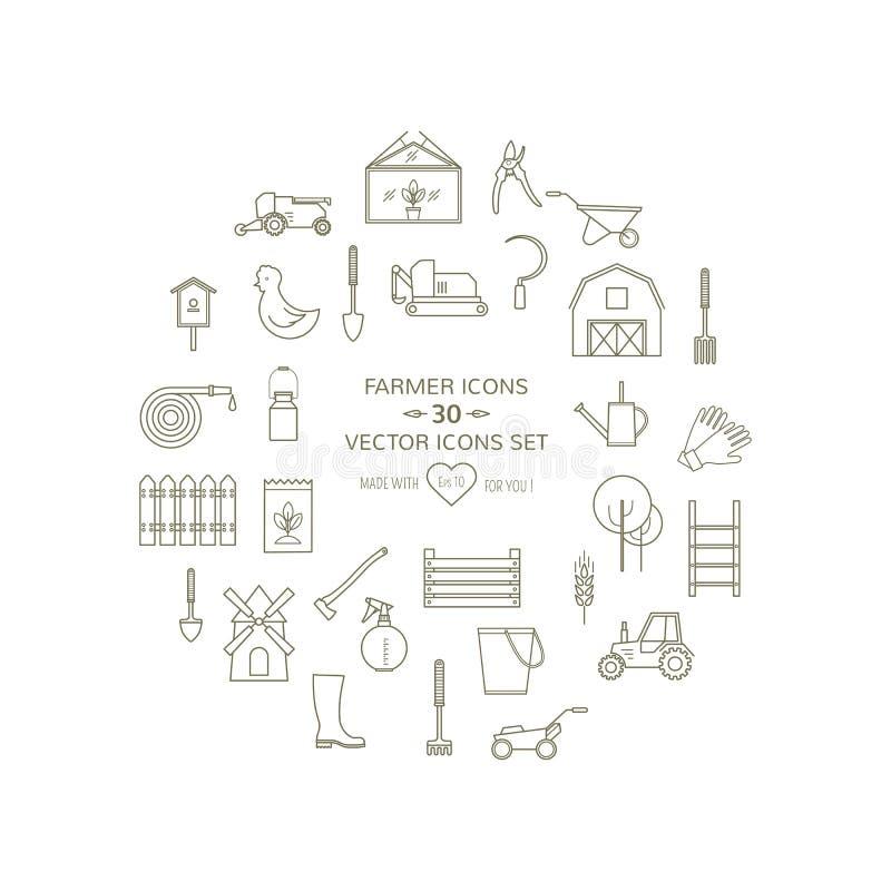 Linea insieme rotondo dell'agricoltore delle icone royalty illustrazione gratis