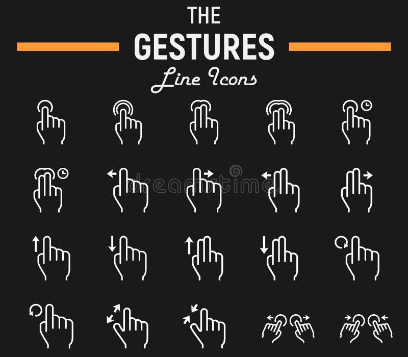 Linea insieme, schermo attivabile al tatto e mani di gesto di tocco dell'icona illustrazione vettoriale