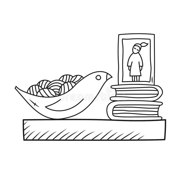 Linea interna domestica illustrazione di scarabocchio dello scaffale della Camera di vettore royalty illustrazione gratis