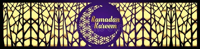 Linea islamica cupola di progettazione di saluto di Ramadan Kareem della moschea con la lanterna araba e la calligrafia del model illustrazione vettoriale