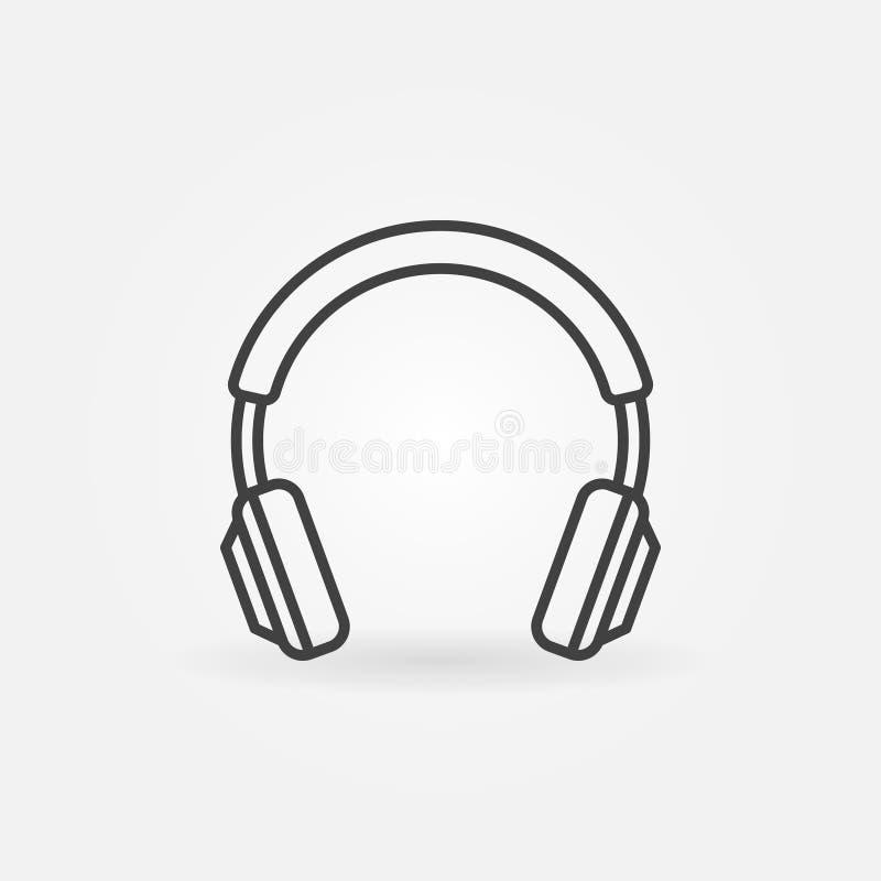 Linea isolata cuffie icona Segno di concetto della cuffia di vettore illustrazione di stock