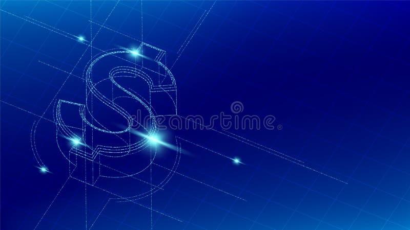Linea isometrica della particella di simbolo dei dollari statunitense di USD di valuta che accende il wireframe futuristico, fond illustrazione di stock