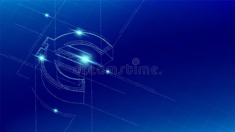Linea isometrica europea della particella di simbolo di valuta EUR euro che accende il wireframe futuristico, cryptocurrency del  royalty illustrazione gratis
