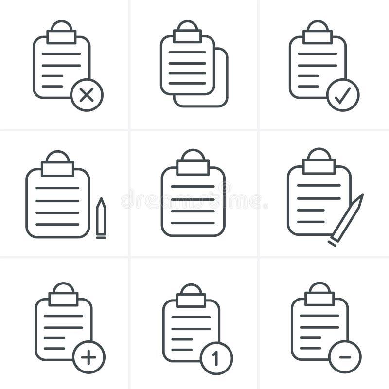 Linea lavagna per appunti isolata vettore di stile delle icone illustrazione di stock