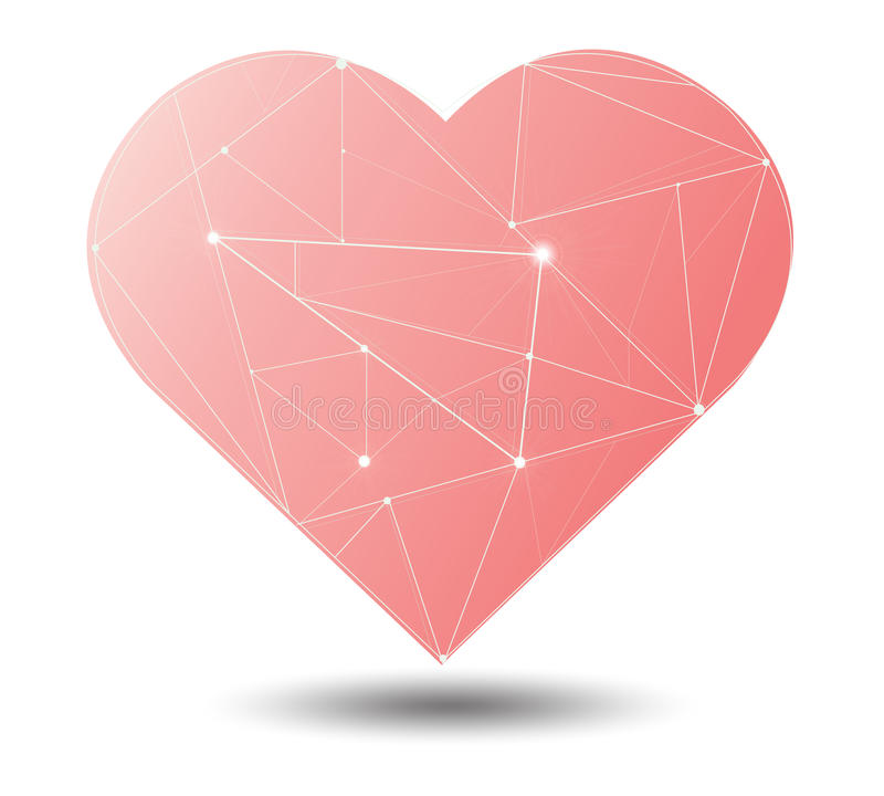 Linea leggera dell'illustrazione splendida d'avanguardia nel vettore di simbolo del cuore royalty illustrazione gratis