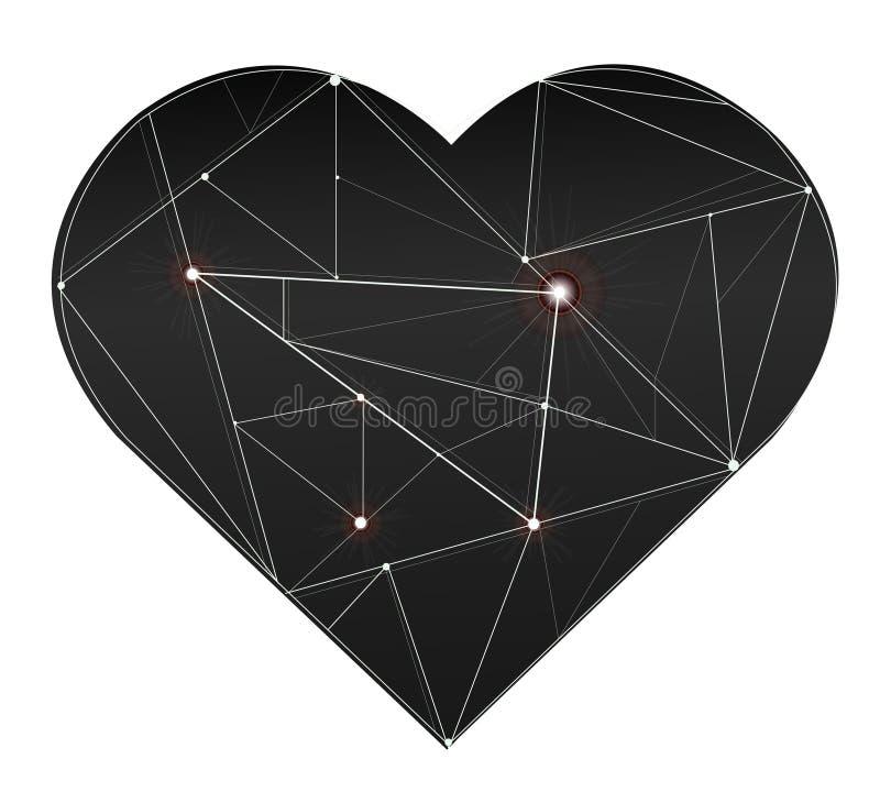 Linea leggera dell'illustrazione splendida d'avanguardia nel vettore di simbolo del cuore illustrazione vettoriale