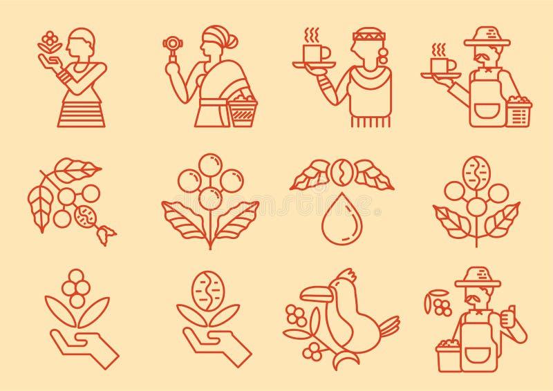 Linea locale icona dell'agricoltore del caffè con la pianta del caffè illustrazione di stock