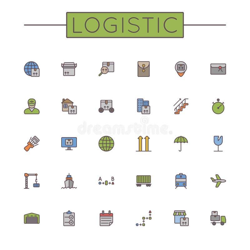 Linea logistica colorata vettore icone illustrazione di stock