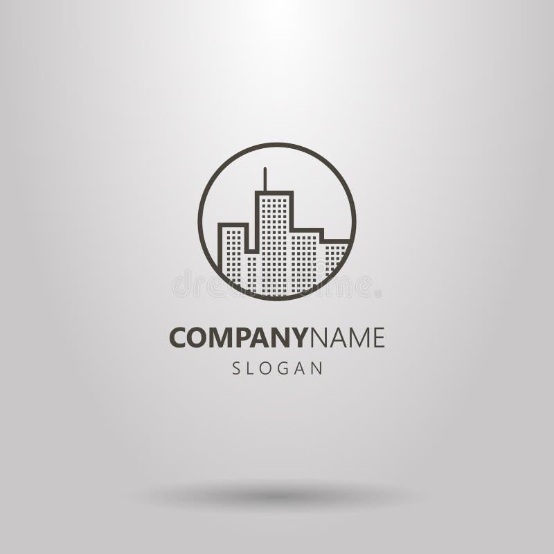Linea logo di arte dei grattacieli urbani nel telaio rotondo royalty illustrazione gratis