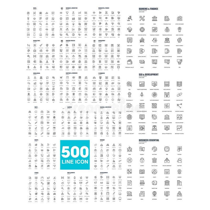 500 linea logo universale di simbolo dell'icona illustrazione di stock