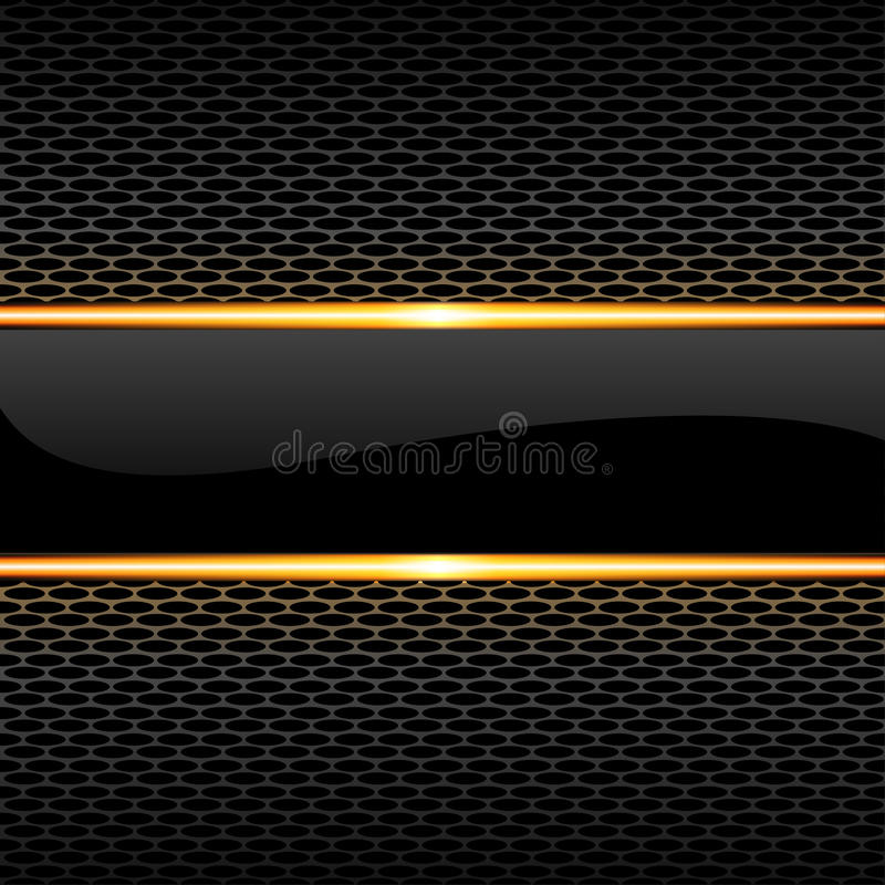 Linea lucida nera astratta dell'oro dell'insegna sul vettore di lusso del fondo di progettazione del modello della maglia del fav illustrazione vettoriale