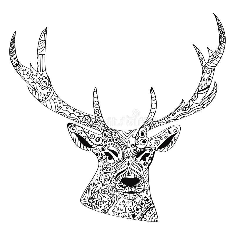 Linea mano di arte che disegna i cervi neri isolati su fondo bianco Stile di Dudling E royalty illustrazione gratis