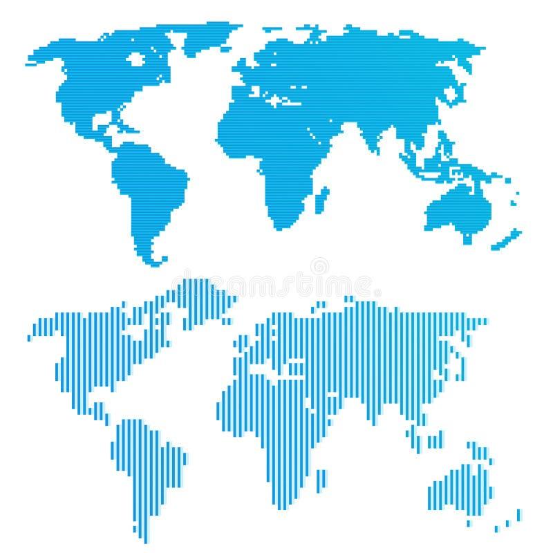 Download Linea mappa di mondo blu illustrazione vettoriale. Illustrazione di elementi - 55359576