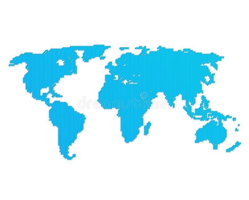 Download Linea mappa di mondo blu illustrazione vettoriale. Illustrazione di carta - 55360847