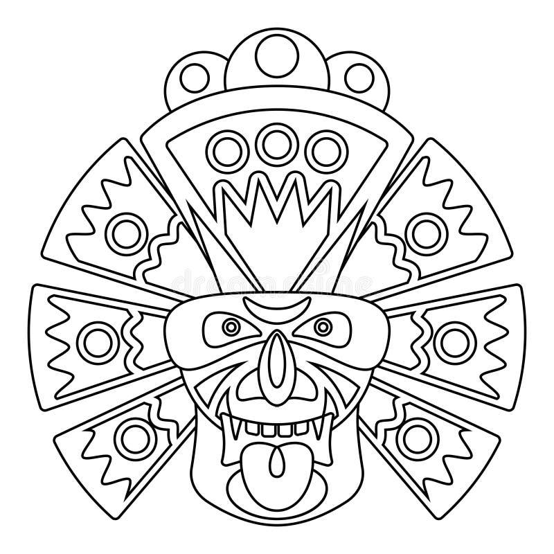 Linea maschera dell'Africano illustrazione di stock