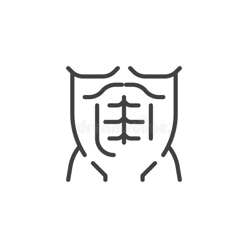 Linea maschio muscolare icona del torso royalty illustrazione gratis