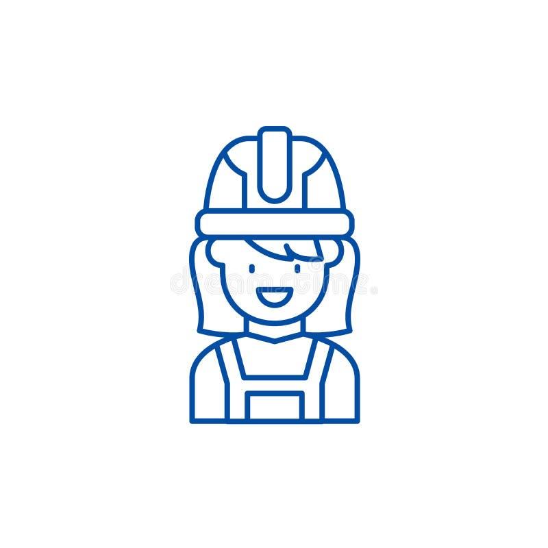 Linea matrice concetto della costruzione dell'icona Simbolo piano di vettore del padrone della costruzione, segno, illustrazione  illustrazione di stock