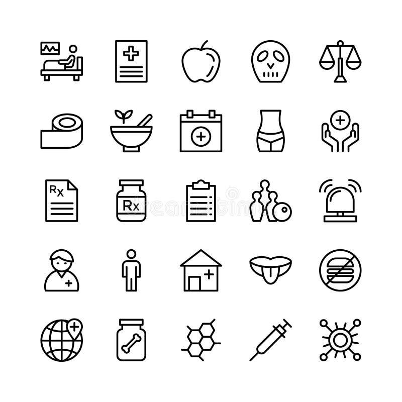 Linea medica, di salute e di forma fisica icone 4 di vettore royalty illustrazione gratis