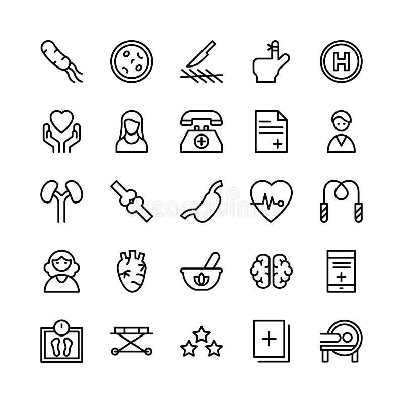 Linea medica, di salute e di forma fisica icone 3 di vettore illustrazione di stock