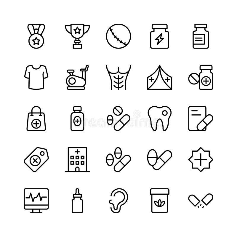 Linea medica, di salute e di forma fisica icone 13 di vettore illustrazione vettoriale