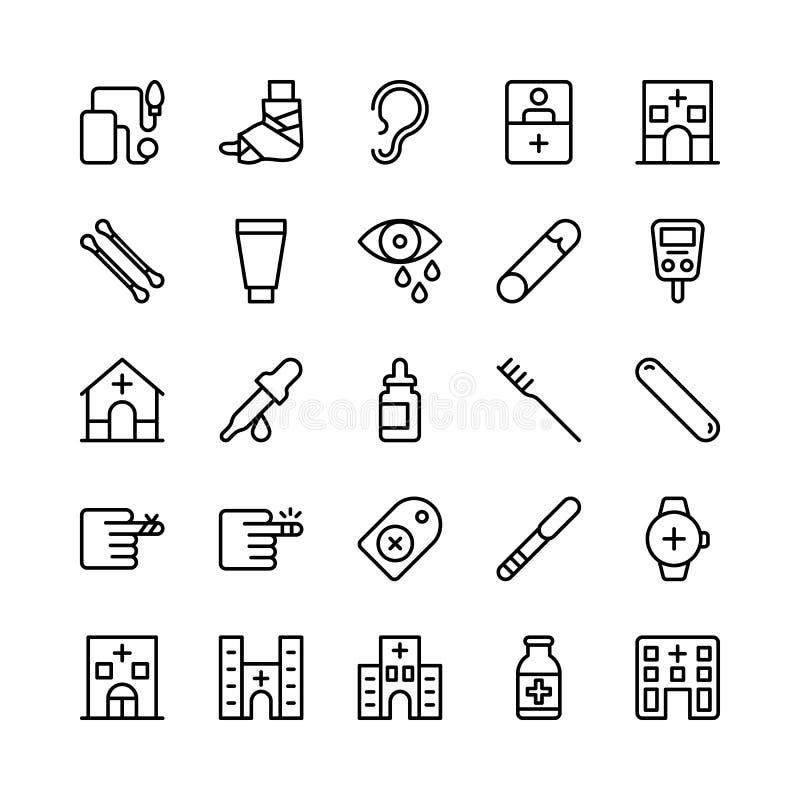 Linea medica, di salute e di forma fisica icone 15 di vettore illustrazione di stock