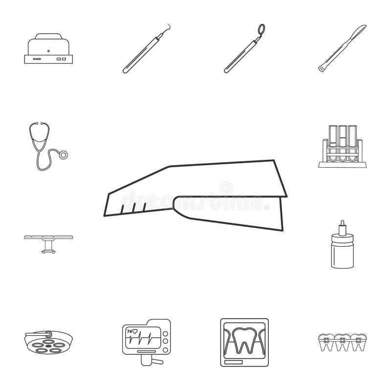 Linea medica icona della cucitrice meccanica Insieme dettagliato degli strumenti della medicina Progettazione grafica premio Una  royalty illustrazione gratis