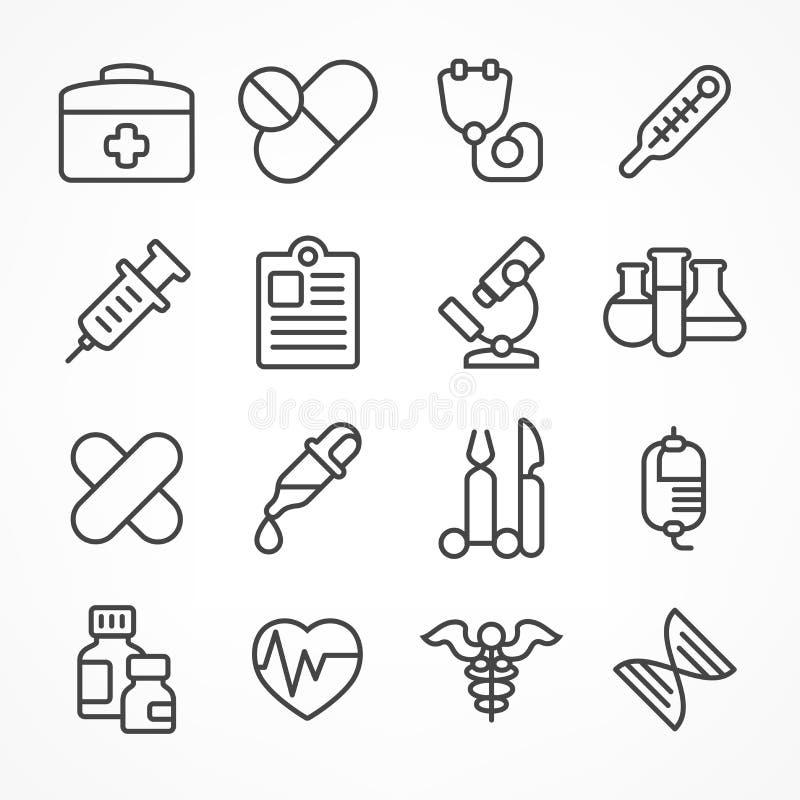 Linea medica icone su bianco illustrazione di stock