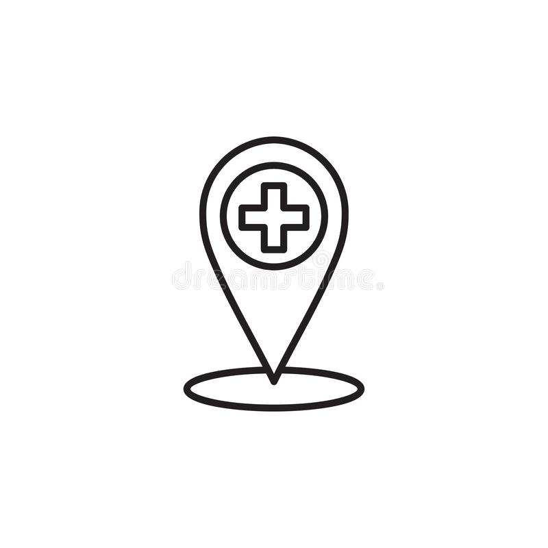 Linea medica moderna icona di posizione di GEO Logo della clinica del profilo per gli ambulatori royalty illustrazione gratis