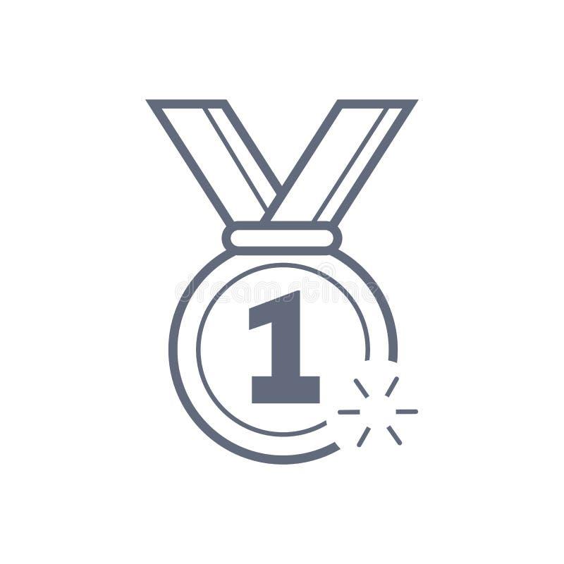 Linea militare icona, segno di vettore del profilo, pittogramma lineare della medaglia della ricompensa di stile isolato su bianc illustrazione di stock