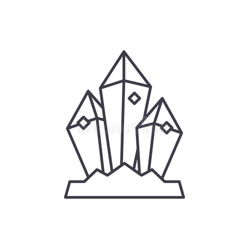 Linea minerale concetto del tesoro dell'icona Illustrazione lineare di vettore minerale del tesoro, simbolo, segno royalty illustrazione gratis