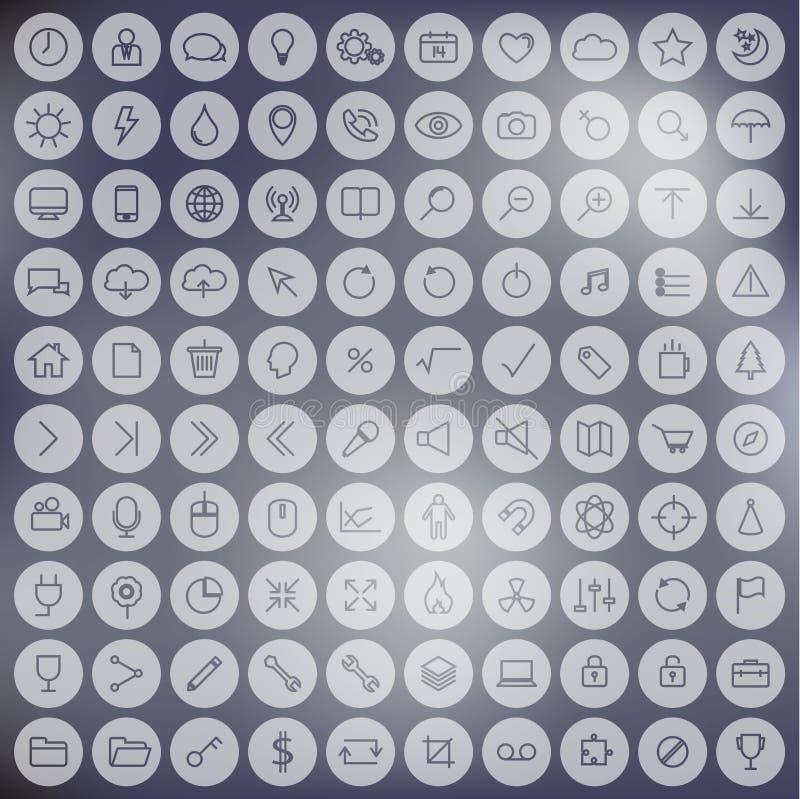 Linea minimalista insieme universale dell'icona sul fondo della sfuocatura Uso per Internet, UI, il dispositivo o il cellulare illustrazione di stock