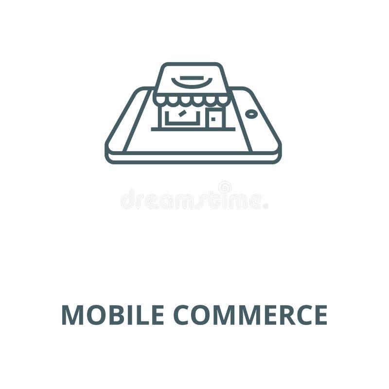 Linea mobile icona, concetto lineare, segno del profilo, simbolo di vettore di commercio illustrazione vettoriale