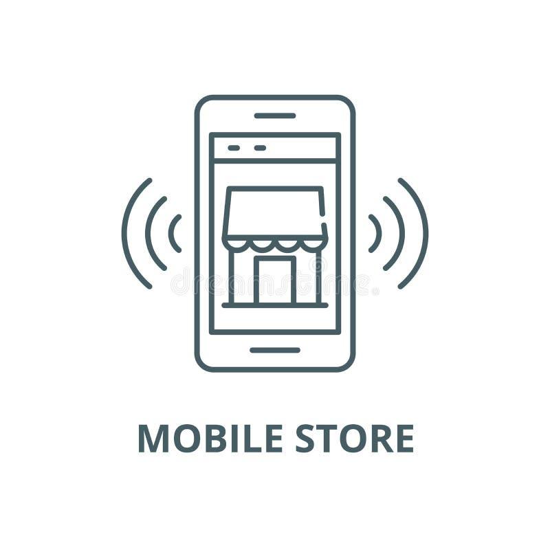Linea mobile icona, concetto lineare, segno del profilo, simbolo di vettore della memoria elettronica illustrazione di stock