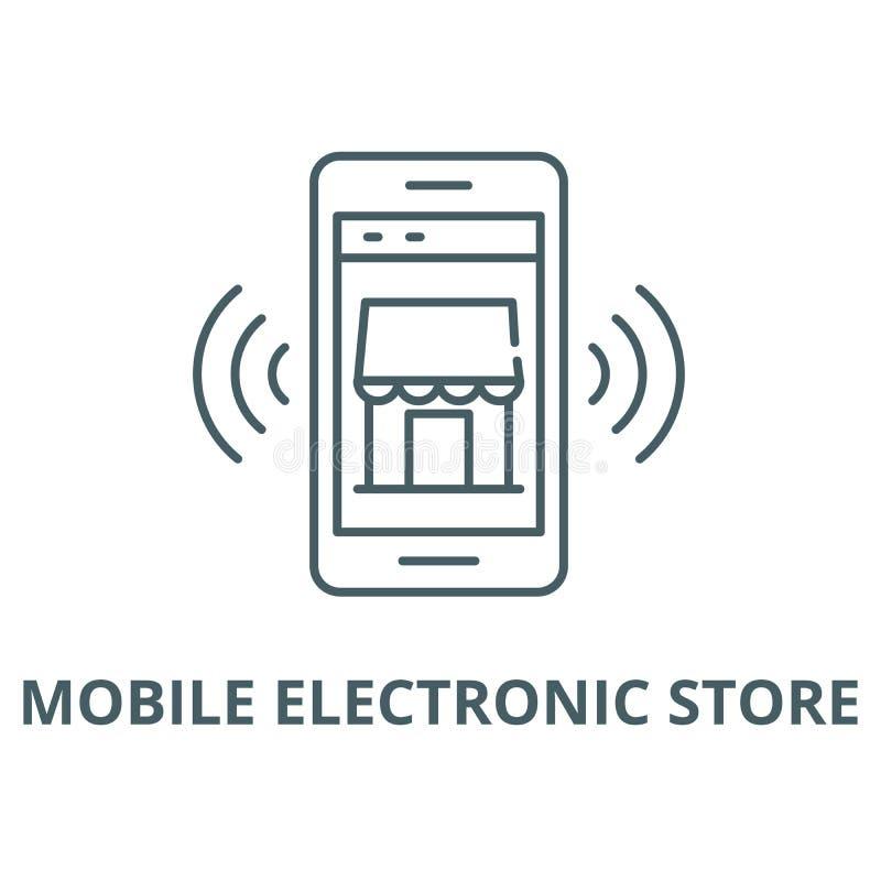 Linea mobile icona, concetto lineare, segno del profilo, simbolo di vettore della memoria elettronica royalty illustrazione gratis