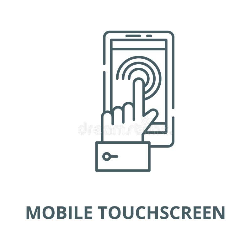 Linea mobile icona, concetto lineare, segno del profilo, simbolo di vettore dello schermo attivabile al tatto illustrazione di stock