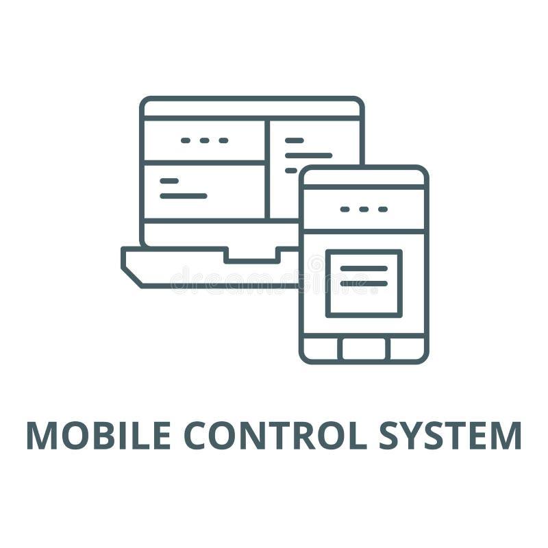 Linea mobile icona, concetto lineare, segno del profilo, simbolo di vettore del sistema di controllo illustrazione vettoriale