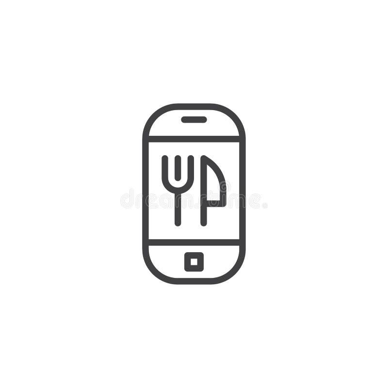 Linea mobile icona dello schermo del app di consegna dell'alimento illustrazione vettoriale